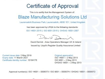ISO Business Assurance Accreditation for Blaze
